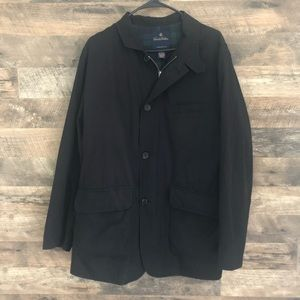Med Brooks Brothers Black Plaid Lined Trench Coat